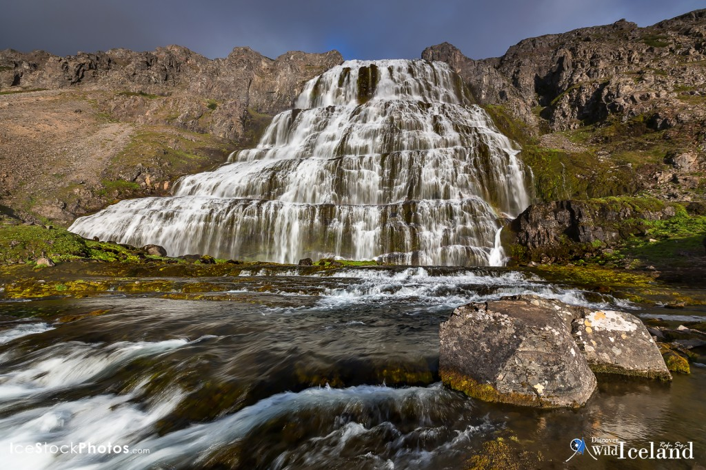 Dynjandi (also known as Fjallfoss) is a series of waterfalls located in the Westfjords (Vestfirðir), Iceland. The waterfalls have a cumulative height of 100 metres (330 ft) If you want to join me on a day tour or one of our private photography adventures in Iceland, feel welcome to check out available tours at our travel web www.discoverwildiceland.com