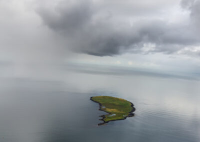 Engey Island in the mist │ Iceland Landscape from Air
