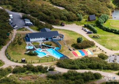 Húsafell Swimming pool from air - West │ Iceland Landscape Ph