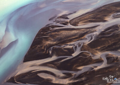 Núpsvötn river Patterns in black sand │ Iceland Landscape from air
