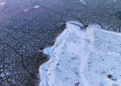 Ölfusá river in winter│ Iceland Landscape From Air