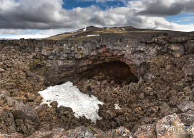 At the entrance of Surtshellir Lava Cave - #Iceland