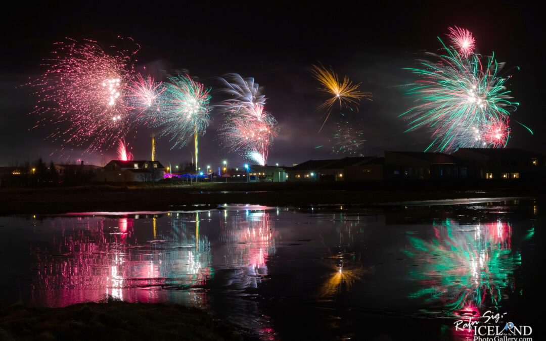 Iceland New Year's Eve Fireworks with reflection │ Vogar, Reykjavnes