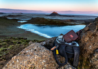 What photography equipment do I take with me when I hike the highlands of Iceland