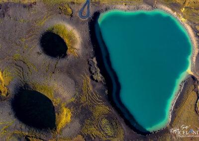 Grænavatn Volcano Lake │ Iceland Landscape from Air