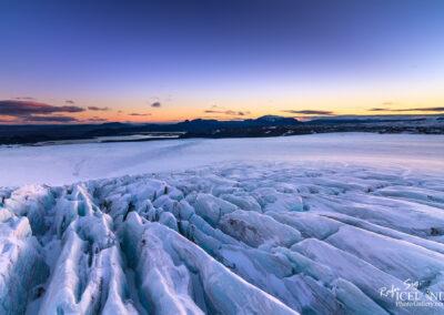 Langjökull Glacier with Hagavatn Lake and the twilight │ Icel