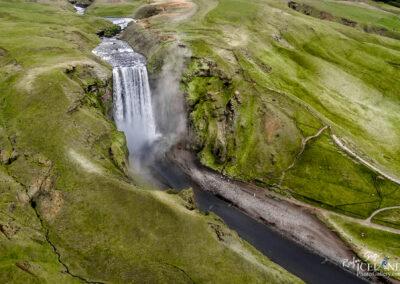 Skógarfoss waterfall │ Iceland Landscape from Air