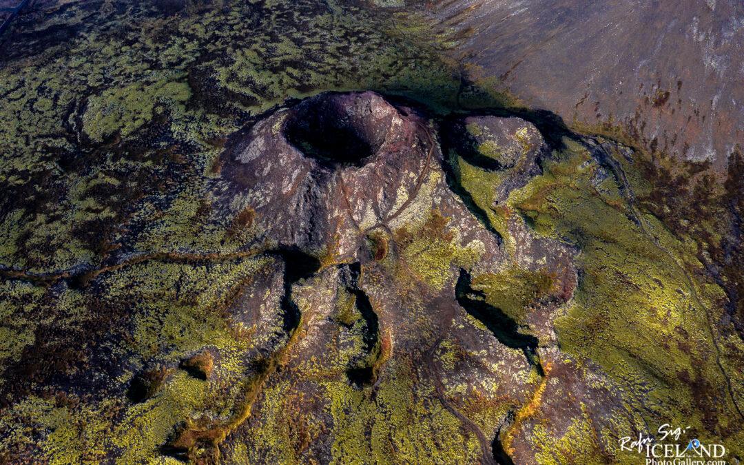 Stóra-Eldborg Volcano – South West – Iceland Landscape from Air