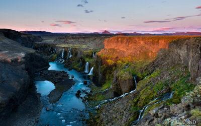 Fögrufossar Waterfall in Sigöldu Canyon │ Iceland Landscape