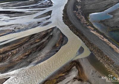 Núpsvötn river Patterns in black sand │ Iceland Landscape from air