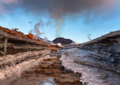 Water Canal at Fimmvörðuháls Eruptions │ Iceland Landscape Photography