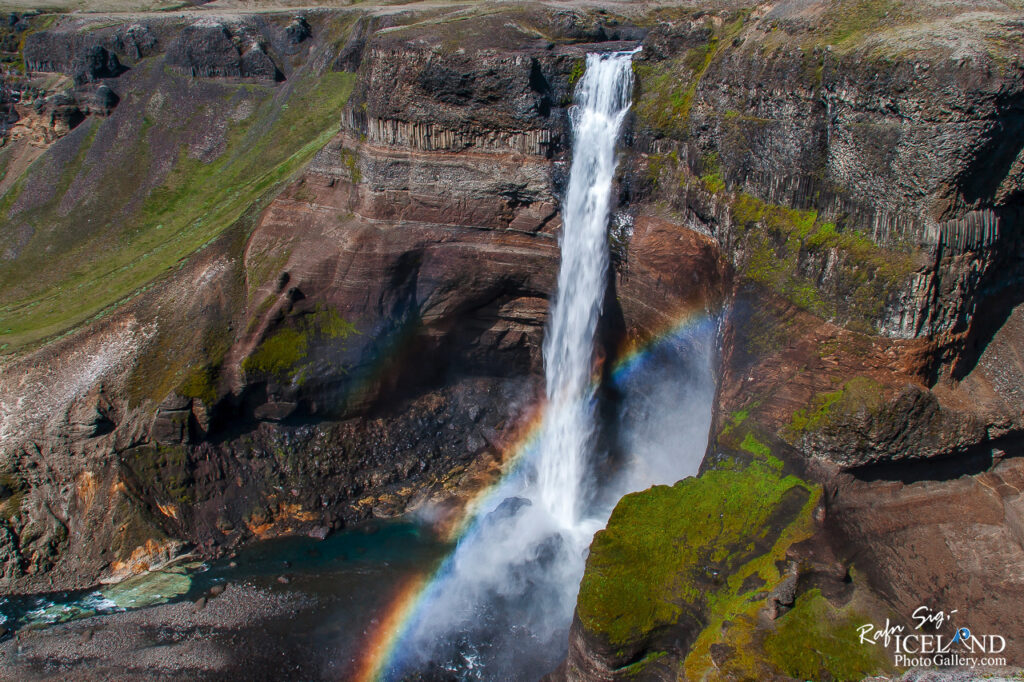 Háifoss and Granni situated near the volcano Hekla in the south of Iceland
