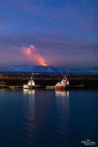 Fagradalsfjall Volcano seen from Vogar Harbor