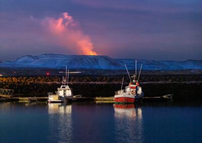 Fagradalsfjall Volcano seen from Vogar Harbor │ Iceland Photo Gallery
