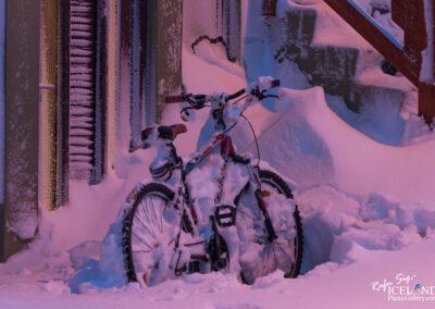 Bicycle in the snow, Vogar, Vatnsleysuströnd, Reykjanes, Iceland