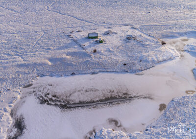 Cabin in the winter snow │ Iceland Landscape from Air