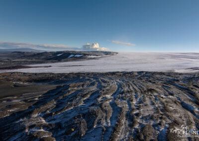 Volcano Holuhraun behind the Glacier Vatnajökull, Highland, Iceland