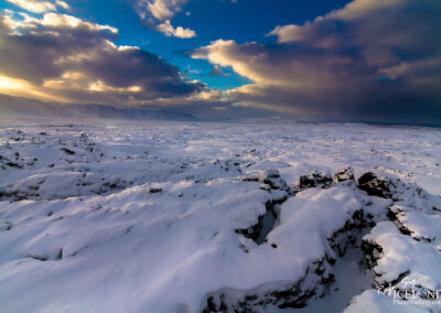 Lava field cowered with snow│ Iceland Landscape From Air