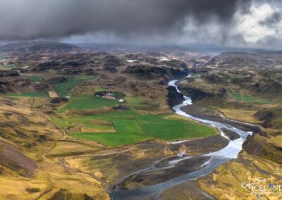 Stóra Laxá river│ Iceland Landscape from Air